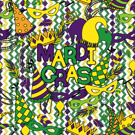 new orleans: Mardi Gras seamless pattern. Colorful background with carnival mask and hats, jesters hat, crowns, fleur de lis, feathers and ribbons. Vector illustration