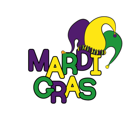 Mardi Gras or Shrove Tuesday. Colorful background with jesters hat. Vector illustration