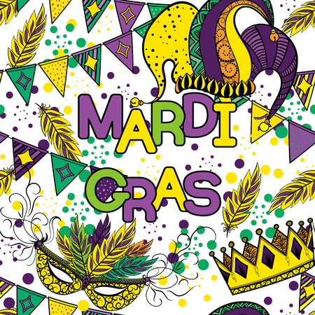 new orleans: Mardi Gras seamless pattern. Colorful background with carnival mask and jesters hat, crowns , feathers, ribbons and flags. Vector illustration