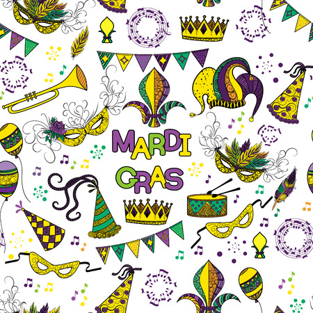 shrove: Mardi Gras seamless pattern. Colorful background with carnival mask and hats, jesters hat, crowns, fleur de lis, feathers and ribbons. Vector illustration