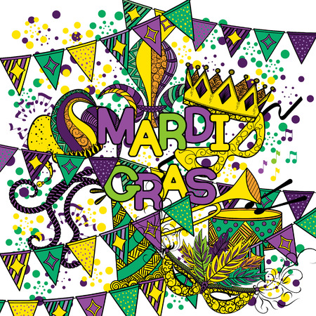 new orleans: Mardi Gras or Shrove Tuesday. Colorful background with carnival mask and hats, jester s hat, crowns, fleur de lis, feathers and ribbons. Vector illustration