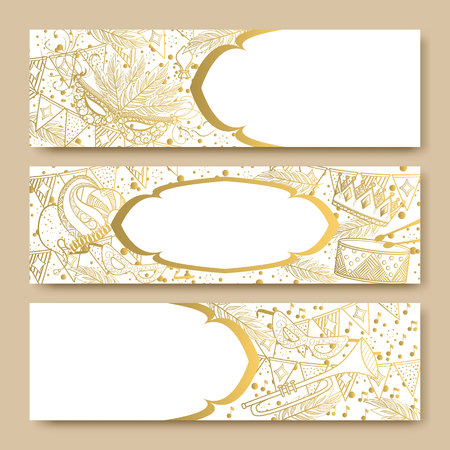 new orleans: Mardi Gras or Shrove Tuesday cards with golden color. Carnival mask and crowns, fleur de lis, feathers. Perfectly fit for banner, invitation, party. Vector illustration