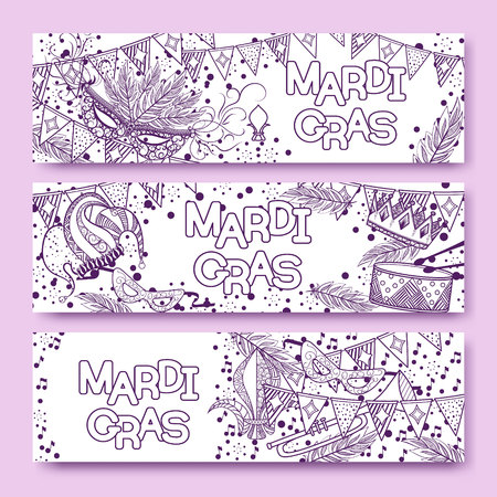 new orleans: Mardi Gras or Shrove Tuesday cards with violet and purple colors. Carnival mask and crowns, fleur de lis, feathers.