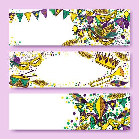new orleans: Mardi Gras or Shrove Tuesday cards with green, yellow and violet colors. Carnival mask and crowns, fleur de lis, feathers. Perfectly fit for banner, invitation, party. Vector illustration Illustration