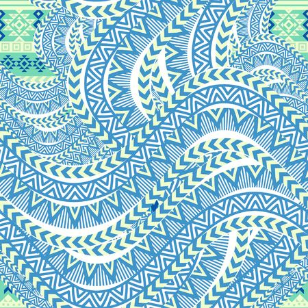 Abstract sea waves background. Ethnic seamless pattern ornament, blue geometric shapes. Tribal motives. Vector illustration. 向量圖像