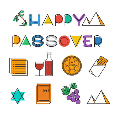 matza: Passover icon set. Design elements collection. Jewish holiday Pesach icons. Colorful linear style. Vector illustration
