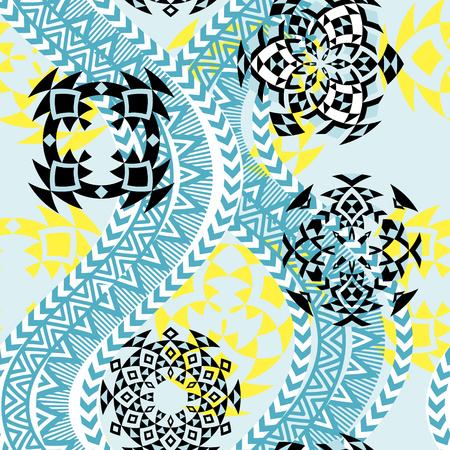 Ethnic background. Tribal seamless pattern . Geometric shapes, round ornaments and waves. Blue and yellow colors. Vector illustration.