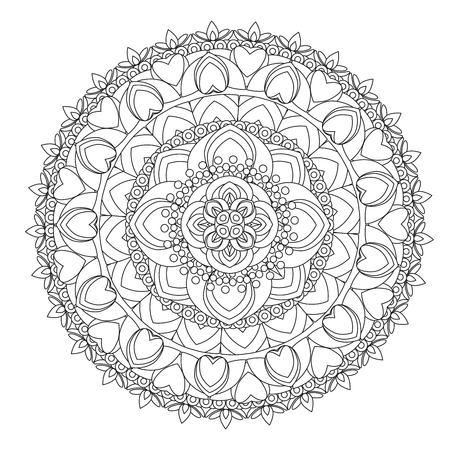 Fiore Mandala illustrazione vettoriale. Modello orientale, elementi decorativi d'epoca. Islam, arabo, indiano, marocchino, turco ottomano motivi Coloring page Archivio Fotografico - 80499722