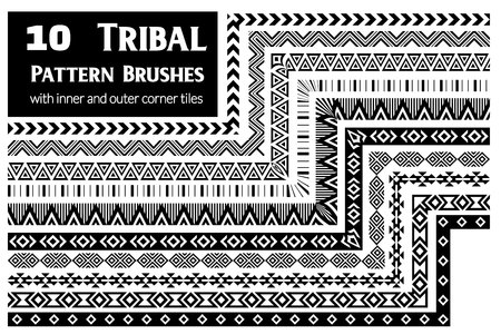 Tribal, ethnic vector pattern brushes with inner and outer corner tiles. Perfect for creating design elements, geometric ornament, frames, borders and more. All used brushes included in brush palette.
