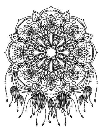 Mandala vector illustration. Round ornament. Adult coloring page. Decorative elements. White background, black outline.