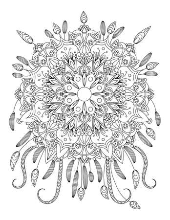 Mandala vecror illustration. Round ornament. Adult coloring page. Decorative elements. White background, black outline. Ilustração