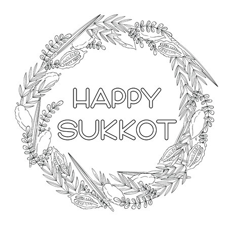 Happy Sukkot (Jewish Holiday) greeting card. Frame with holiday symbols Etrog, lulav hadas and arava. Black and white vector illustration. Isolated on white background. Ilustração