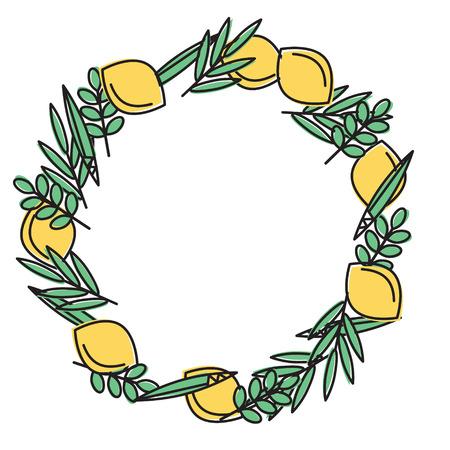 Sukkot (Jewish Holiday) frame with holiday symbols Etrog, lulav hadas and arava. Vector illustration. Isolated on white background.