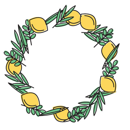 Sukkot (Jewish Holiday) frame with holiday symbols Etrog, lulav hadas and arava. Vector illustration. Isolated on white background.
