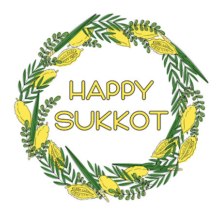 Happy Sukkot (Jewish Holiday) greeting card. Frame with holiday symbols Etrog, lulav hadas and arava. Vector illustration. Isolated on white background. Ilustração