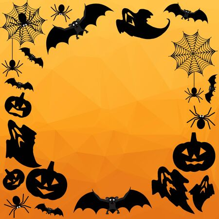 spider web: Halloween Background. Vector Halloween orange polygonal mosaic background with bats, ghosts, spiderweb, spiders and pumpkins.