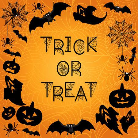 Antecedentes de Halloween. Truco o trato. fondo naranja de Halloween con murciélagos, fantasmas, tela de araña, arañas y calabazas. ilustración vectorial