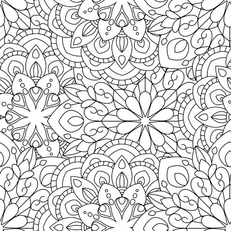 Doodles mandala seamless pattern. Adult coloring page. Black and white florale elements. Repeat pattern background. Hand drawn vector illustration. Ilustrace