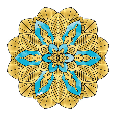 Golden mandala vector illustration. Floral ornament, oriental pattern, vintage decorative element. Islam, Arabic, Indian, moroccan turkish ottoman motifs
