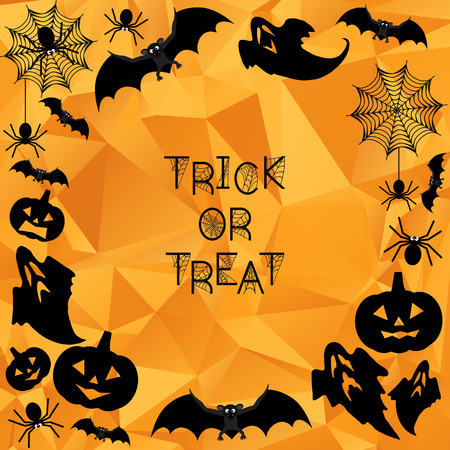 Halloween Background. Trick or treat. Halloween orange polygonal mosaic background with bats, ghosts, spiderweb, spiders and pumpkins. Vector illustration