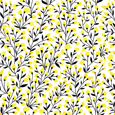 Floral seamless pattern design. Branch with small flowers and leaves. Cute hand drawn vector illustration. Black and yellow elements on white background.