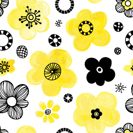 Floral seamless pattern design. Cute hand drawn vector illustration. Black and yellow elements on white background. Illustration