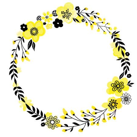Marco decorativo floral. Flores amarillas aisladas en blanco. Elemento de diseño de corona redonda. Ilustración vectorial