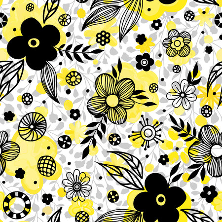 Floral seamless pattern design. Spring flowers and leaves. Cute hand drawn vector illustration