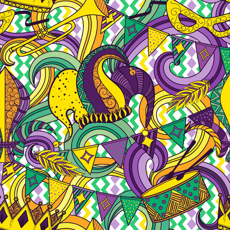 Mardi Gras seamless pattern. Colorful background with carnival mask and hats, jester hat, crowns, fleur de lis, feathers and ribbons. Vector illustration