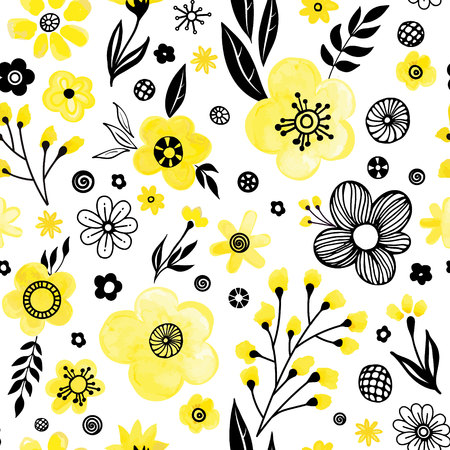 Floral seamless pattern design. Spring flowers and leaves. Cute hand drawn vector illustration. Black and yellow elements on white background.