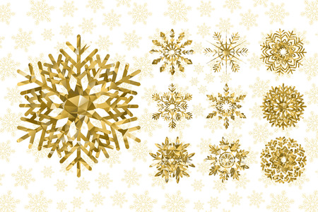 Golden snowflakes collection.