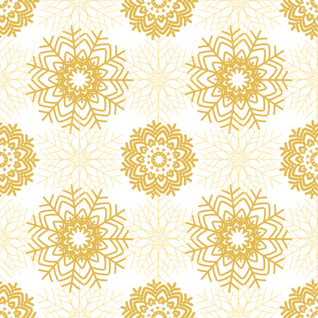 Golden snowflakes on white background. Christmas snowy seamless pattern. Winter holiday vector illustration.