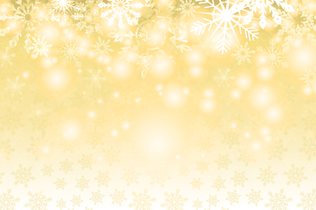 Golden snowy background. Winter holiday and Christmas vector illustration with white snowflakes. Ilustrace
