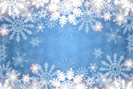 Blue snowy background white snowflakes. Winter holidays and Christmas vector illustration with white snowflakes.
