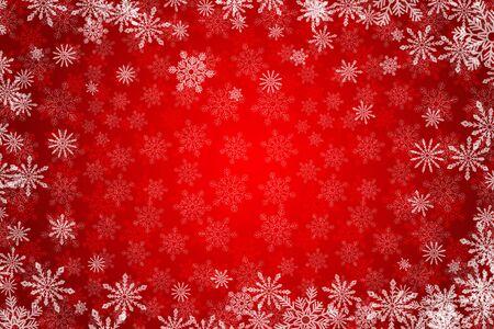 Roter Weihnachtshintergrund mit weißen Schneeflocken . Snowy Winter Urlaub Vektor-Illustration . Platz für Ihren Text