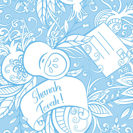 Rosh Hashanah (Jewish New Year) seamless pattern. Hand drawn elements apples, pomegranate greeting cards and flowers. Vector illustration blue background.