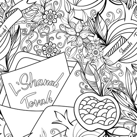 Rosh Hashanah (Jewish New Year) seamless pattern. Hand drawn elements apples, pomegranate greeting cards and flowers. Vector illustration. Isolated on white background. Adult coloring book page.  イラスト・ベクター素材