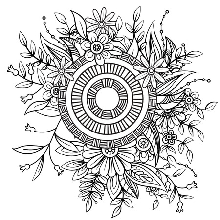 Floral pattern in black and white. Adult coloring book page with flowers and mandala. Art therapy, anti stress coloring page. Hand drawn vector illustration Vectores