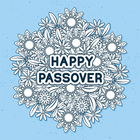 Jewish holiday greeting card template. Spring flowers bouquet. Greeting text Happy Passover. Illustration