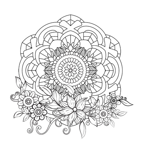 Floral mandala pattern in black and white. Adult coloring book page with flowers and mandalas.