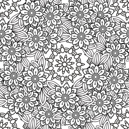 Hand drawn seamless pattern with leaves and flowers. Doodles floral ornament. Black and white decorative elements.