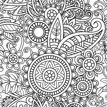 Ethnic seamless pattern with mandalas, flowers and leaves. Doodles floral black and white ornament. Perfect for wallpaper, adult coloring books, web page background, surface textures.
