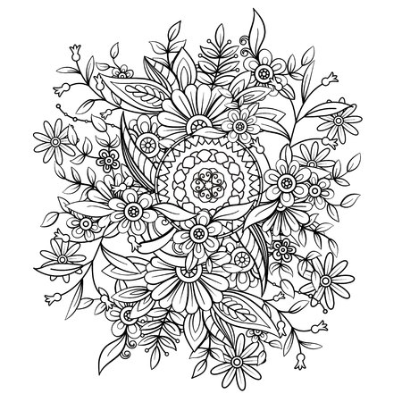 Floral pattern in black and white Vettoriali