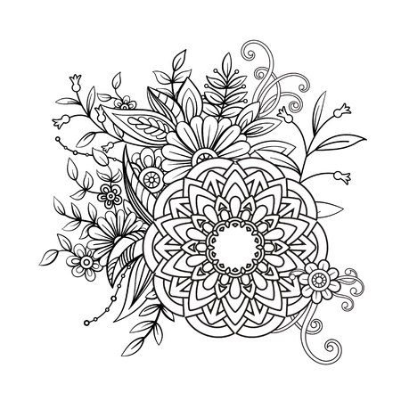 Floral pattern in black and white Ilustrace
