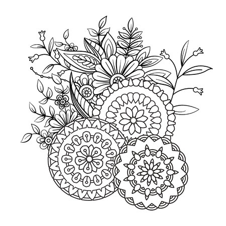 Adult coloring book page with flowers and mandalas. Floral pattern in black and white. Art therapy, anti stress coloring page. Hand drawn vector illustration