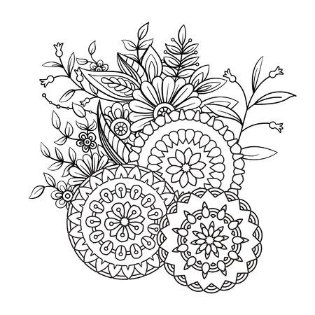 Malbuchseite für Erwachsene mit Blumen und Mandalas. Blumenmuster in Schwarzweiss. Kunsttherapie, Anti-Stress-Malvorlagen. Hand gezeichnete Vektorillustration Vektorgrafik