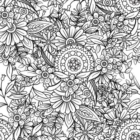 Nahtloses Blumenmuster in Schwarzweiss. Malbuchseite für Erwachsene mit Blumen und Mandalas. Hand gezeichnete Vektorillustration. Kritzelt Hintergrund