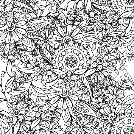Patrón floral transparente en blanco y negro. Página de libro para colorear para adultos con flores y mandalas. Ilustración de vector dibujado a mano. Fondo de garabatos