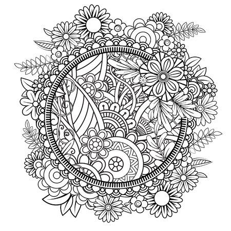花柄の大人の着色ページ。黒と白の落書き花輪。花のマンダラ。白い背景に分離されたブーケラインアートベクターイラスト。ラウンドデザイン要素 写真素材 - 105448785