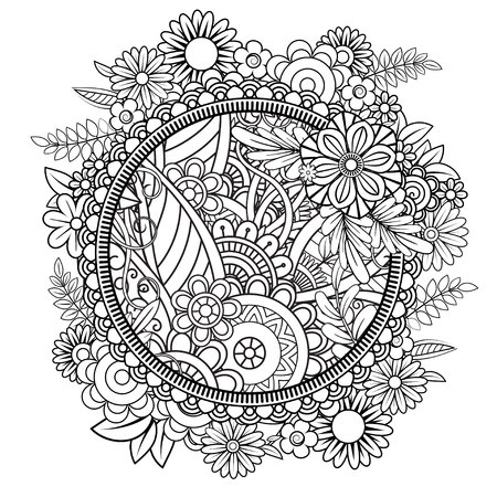 Adult coloring page with flowers pattern. Black and white doodle wreath. Floral mandala. Bouquet line art vector illustration isolated on white background. Round design element Vettoriali